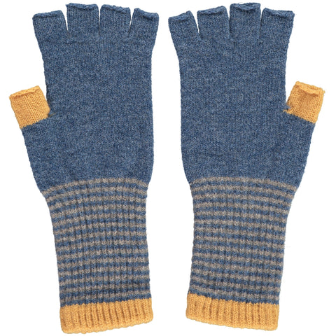 Women's denim blue Fingerless Lambswool Gloves