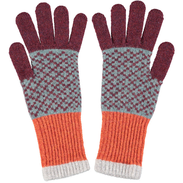 Women's Sea Green & Aubergine Cross Pattern Lambswool Gloves