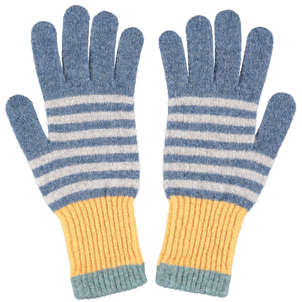 Women's Denim Blue & Grey Stripe Lambswool Gloves