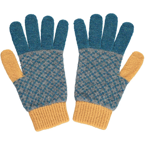 Men's Cross Petrol Blue & Gold Lambswool Gloves