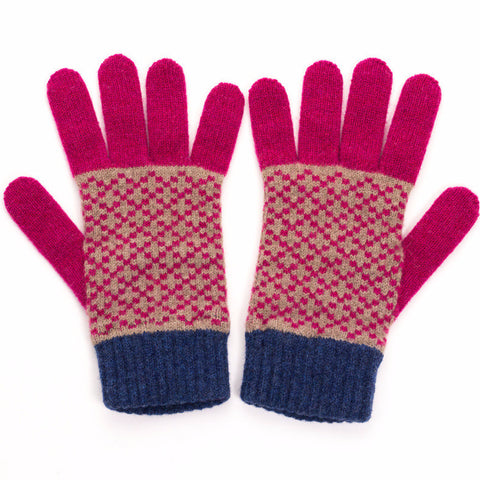 Women's Mushroom & Plum Cross Lambswool Gloves