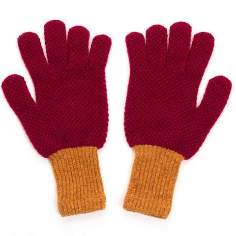 Women's Textured Mustard & Red Knitted Gloves