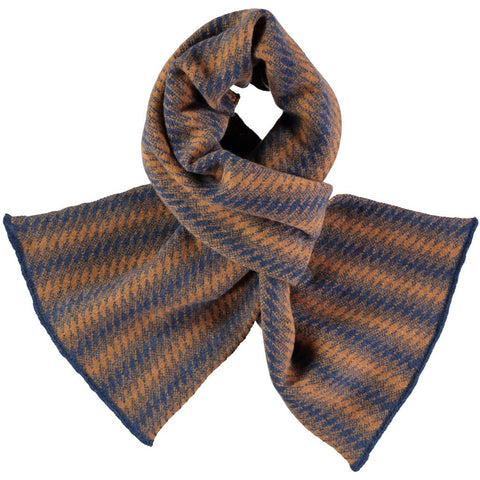 Square Pattern Ginger & Navy Lambswool Scarf