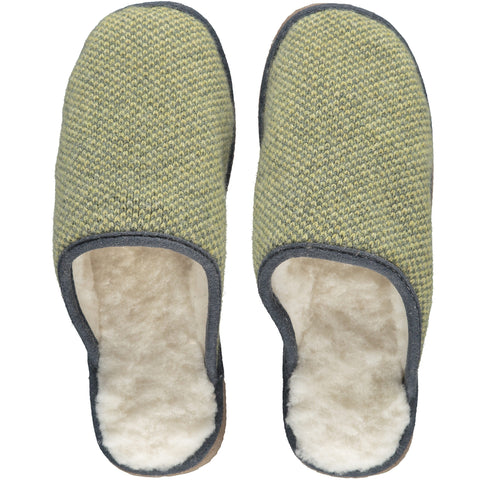 Green Check Lambswool & Sheepskin Slippers