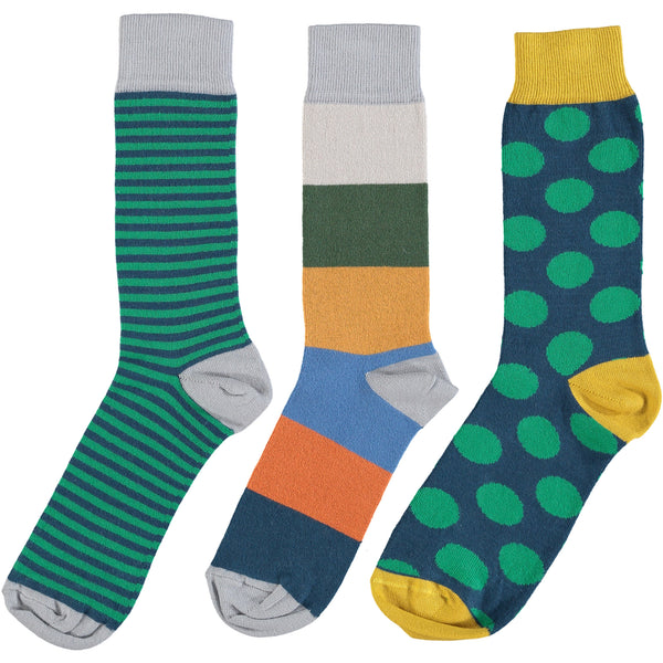 Green & Blue Collection - Men's Cotton Ankle Sock 3 Pack - SAVE 20%