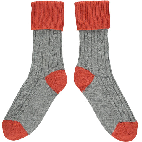 SLOUCH SOCKS - cashmere mix - grey/orange