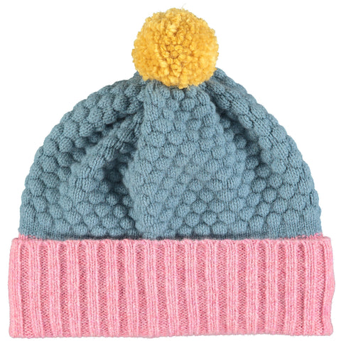 HAT - lambswool - childrens - honeycomb - pink/smokey blue