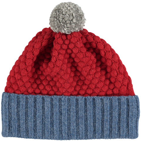 HAT - lambswool - childrens - honeycomb - red/denim