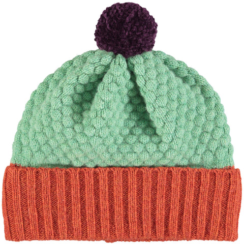HAT - lambswool - childrens - honeycomb - rust/mint