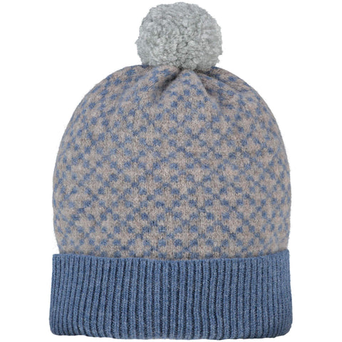 Cross Bobble Hat Denim & Mushroom + Grey Pom Pom