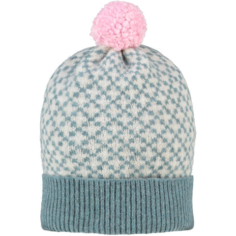 Cross Bobble Hat Sage & Oat + Light Pink Pom Pom