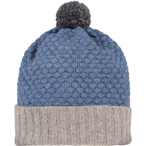 Honeycomb Bobble Hat Mushroom & Denim + Charcoal Pom Pom