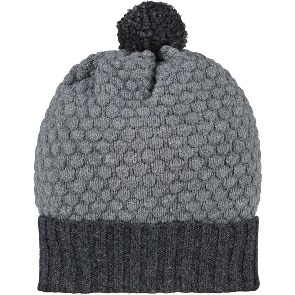 Honeycomb Bobble Hat Charcoal & Mid-Grey + Charcoal Pom Pom
