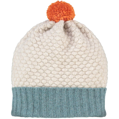 Honeycomb Bobble Hat Sage & Oat + Orange Pom Pom