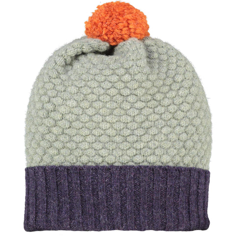 Honeycomb Bobble Hat Aubergine & Soft Green + Orange Pom Pom