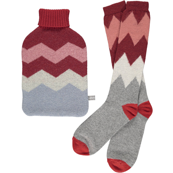 HOTTIE COVER  -& Sock set lambswool - zigzag - red