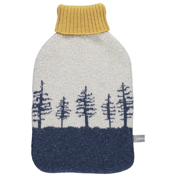 Lambswool Hot Water Bottle Cover - navy & oat forest