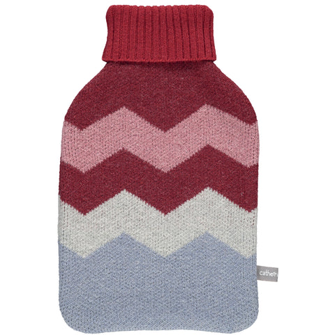 Lambswool Hot Water Bottle Cover - Red Zigzags