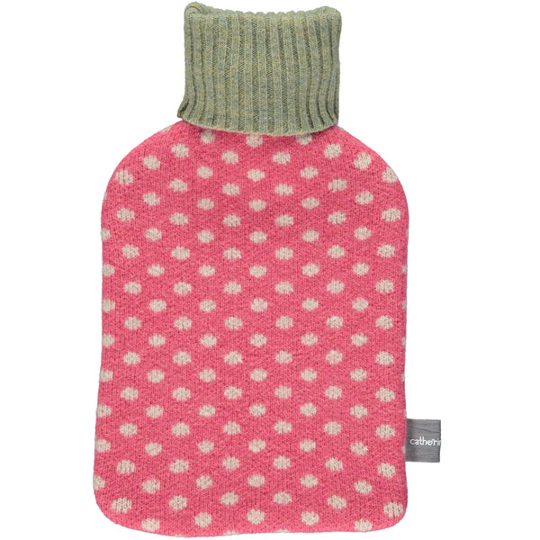 Lambswool Hot Water Bottle Cover - Pink Dots