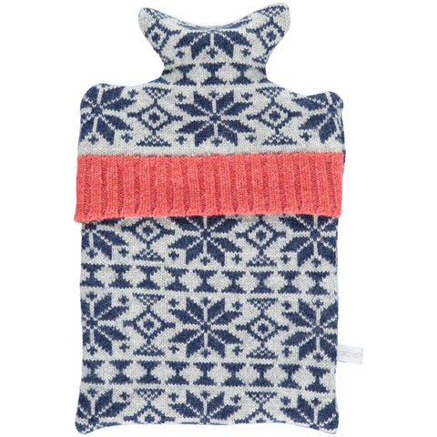Navy Fair Isle Lambswool Hot Water Bottle Cover