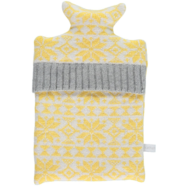 Yellow Fair Isle Lambswool Hot Water Bottle Cover