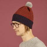 Honeycomb Bobble Hat Aubergine & Rust + Grey Pom Pom
