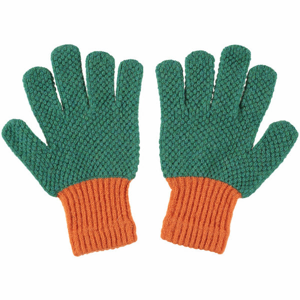 kids bright green gloves