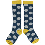 Navy Big Spot Kids' Cotton Knee Socks