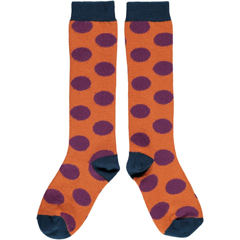Orange Big Spot Kids' Cotton Knee Socks