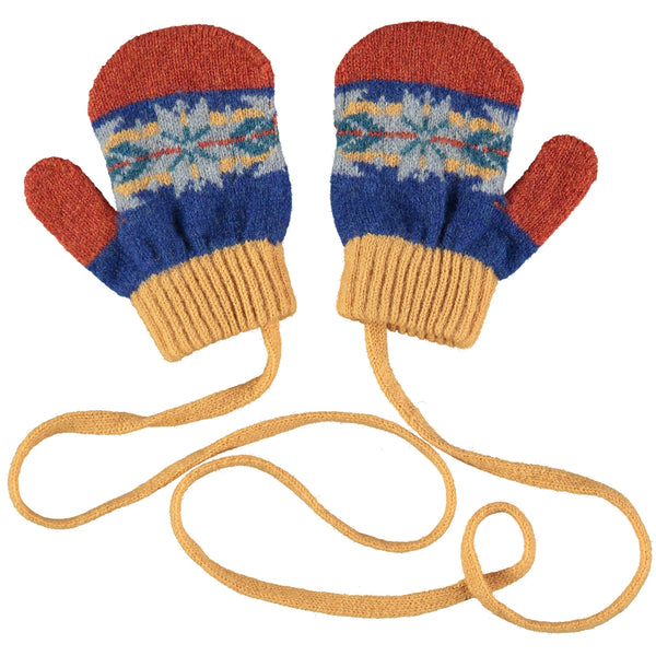 Kids' Blue & Orange Fair Isle Lambswool Mittens on a String