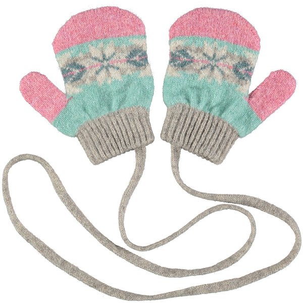 Kids' Green & Pink Fair Isle Lambswool Mittens on a String