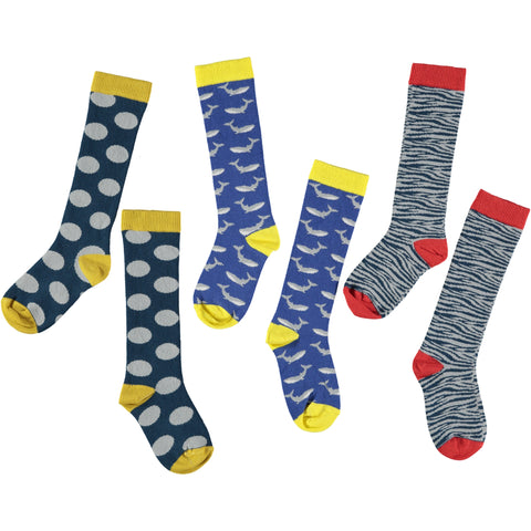 Navy, Red & Yellow Knee Sock Bundle - Kids Cotton 3 Pack - Save 20%