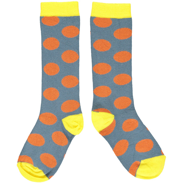 Slate & Orange Big Spot Kids' Cotton Knee Socks