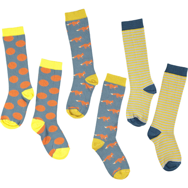 Smoke, Orange & Sage Knee Sock Bundle - Kids Cotton 3 Pack - Save 20%