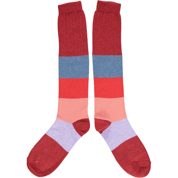 KNEE SOCKS - lambswool - ladies  -  colour block - red