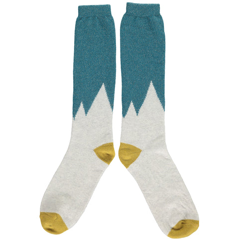 Ladies Lambswool Light Grey Snowy Mountains Knee Socks