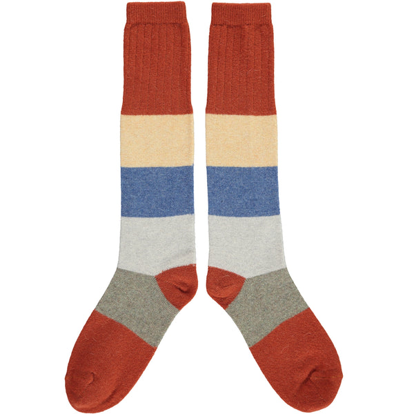 Ladies Lambswool Burnt Orange Colour Block Knee Socks