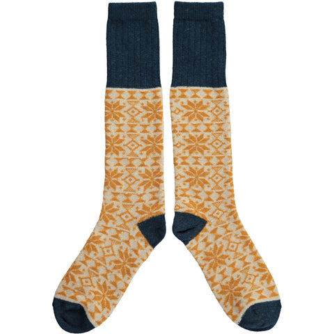 Ladies Lambswool Inky Blue & Ginger Fair Isle Knee Socks