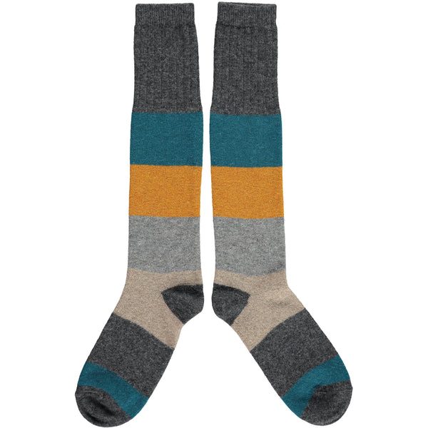charcoal colour block knee socks