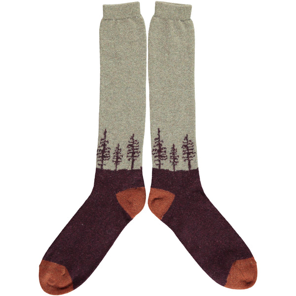 mens knee high forest socks - aubergine