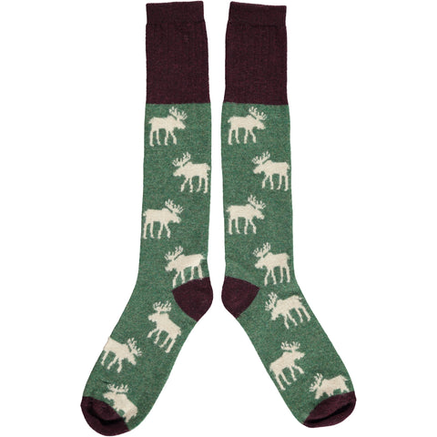 Ladies Lambswool Green Moose Knee Socks