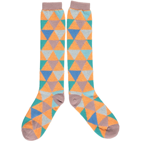 Ladies Lambswool Peach Multi Triangle Knee Socks