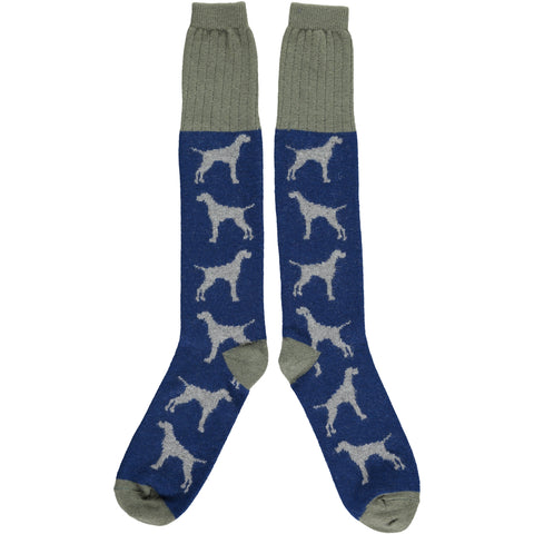 Men's Navy Hounds Lambswool Knee Socks