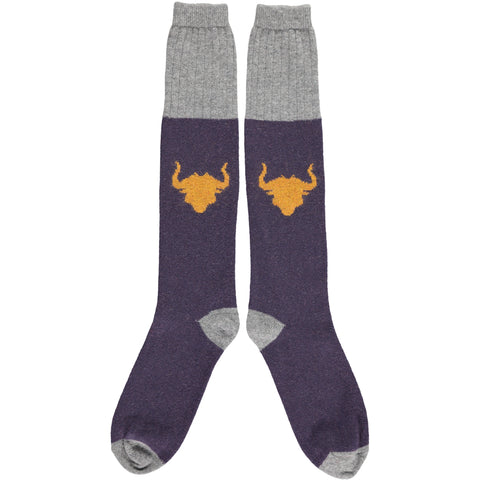 Men's Bulls Head Lambswool Knee Socks