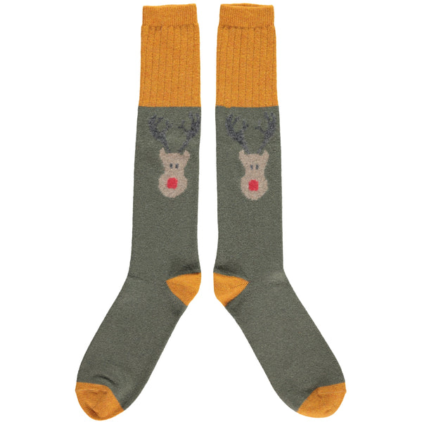 Men's Green Reindeer Lambswool Knee Socks