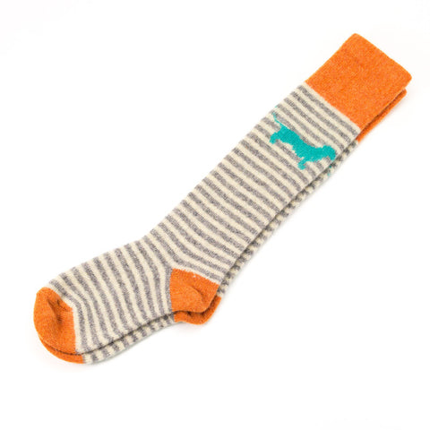 Kids' Lambswool Green Sausage Dog Knee Socks