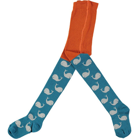 Kids' Cotton Orange and Blue Whale Tights