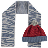 Kids' Lambswool Hat & Scarf Set - Zebra