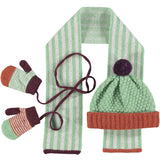 Kids' Winter Hat, Scarf & Mitten Set - Mint Rust Lambswool 2-4 years