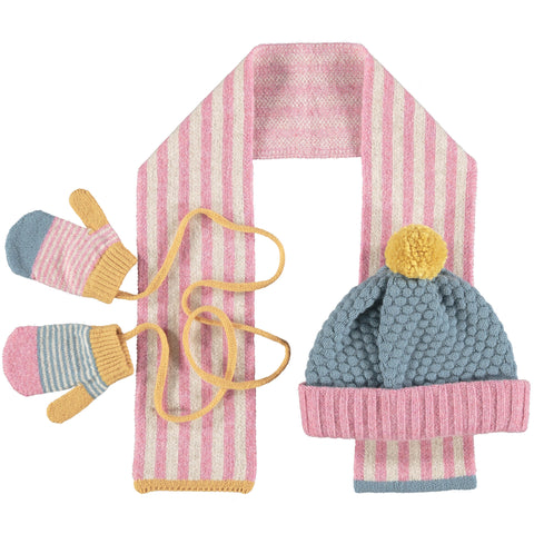 Kids' Winter Hat, Scarf & Mitten Set - PinkSmoke Blue Lambswool (2-4 years)